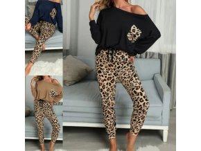 Dámské oblečení -  dámské pyžamo s leopardím vzorem dlouhé kalhoty + triko - dámské pyžamo - dámská trička - dámské tepláky