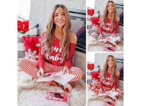 Dámské oblečení -  dámské pyžamo - vánoce - dámské vánoční pyžamo kalhoty + tričko - vánoční pyžamo - dárek k vánocům