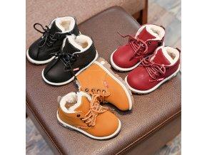 Dětské oblečení - boty - dětské zimní zateplené boty s tkaničkami - dětské boty - zimní boty - chlapecké boty - výprodej skladu