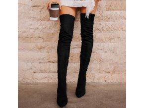 Boty - dámské zimní vysoké kozačky na podpatku - dámské kozačky - kozačky - zimní boty - dárek pro ženu