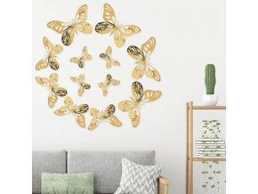 Motýli - sada lepících zrcadlových motýlů  na zeď - dekorace - dekorace do bytu - výprodej skladu