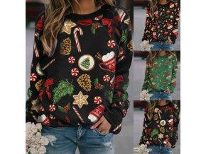 Dámské oblečení - mikiny - dámská mikina s vánočními potisky - dámské mikiny - tričko - vánoce
