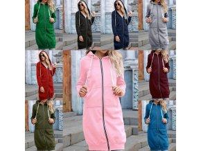 Dámské oblečení - mikina - dámská dlouhá mikina na zip - dámské mikiny - mikinové šaty - výprodej skladu