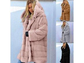 Dámské oblečení - kabát - zimní huňatý kabát s kapucí - nadměrné velikosti - dámské zimní kabáty - dámské kabáty