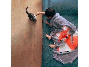 Dekorace - deky - dětská pletená deka s liškou - dětský pokoj - dárek pro děti