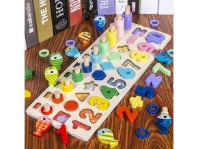 Hračky - vzdělávací dřevěná hračka pro děti s čísly rybolov - montessori - matematika - dárek pro děti - vánoční dárek