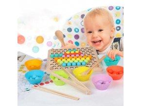 Hračky - vzdělávací dřevěná hračka s barevnými kuličky pro nejmenší - hračky pro nejmenší - matematika - vánoční dárek