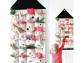 Vánoce - vánoční dekorace - vánoční závěsný adventní kalendář na dárečky - adventní kalendář -dárek pro děti