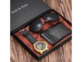 Dárky pro muže - sada pro muže vhodná jako vánoční dárek  - vánoční dárky - pánská peněženka - pánské hodinky - sluneční brýle