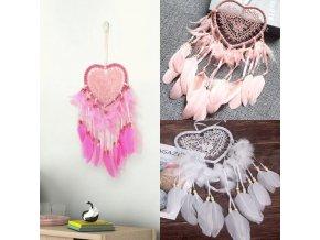 Dekorace - lapač snů - lapač snů srdce - dekorace na zeď - srdce - vánoční dárek