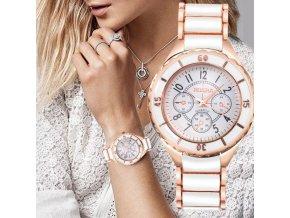 Hodinky - krásné módní hodinky v rose gold barvě - dámské hodinky - dárek pro ženu