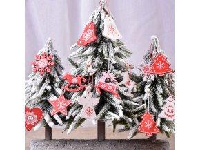 Vánoce - vánoční dřevěné ozdoby po 10 ks v červené a bílé barvě - vánoční ozdoby - vánoční dekorace - výprodej skladu