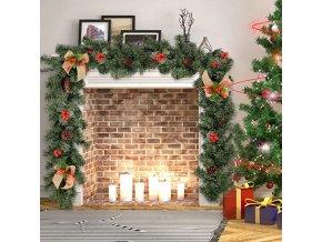 Vánoce - vánoční přírodně zdobená girlanda  - vánoční dekorace - vánoční girlanda