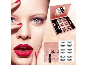Kosmetika - sada magnetických řas s očními linkami 3 a 6 párů řas - magnetické řasy - dárek pro ženu