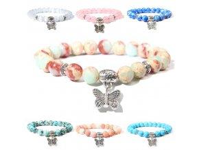 Náramky z minerálů - krásný náramek z minerálu s přívěškem motýla - náramky - dárek pro ženu - výprodej skladu