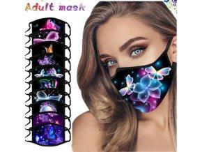 Roušky - nano roušky - bavlněná dámská rouška s krásnými potisky motýlů -ochranné roušky - bavlněné roušky- nošení roušek