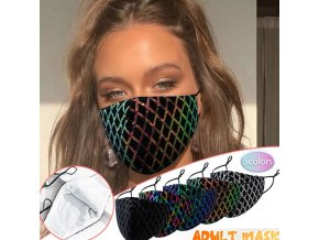 Roušky - nano roušky - bavlněná dámská rouška zdobená flitry - ochranné roušky - bavlněné roušky- nošení roušek