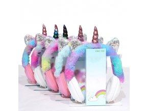 Sluchátka - dětské chlupaté sluchátka ve stylu jednorožce - jednorožec - vánočná dárek - dárek pro děti