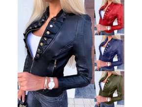 Oblečení - dámské krásná koženková bunda se zdobením -kožené bundy -dámské jarní bundy - výprodej skladu