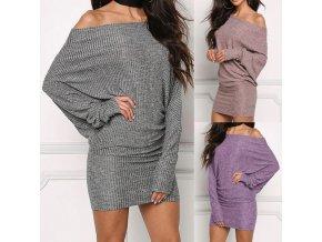 Oblečení - dámské žebrované šaty se spadlým ramenem - dámské šaty -společenské šaty - výprodej skladu