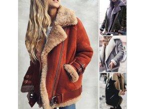 Oblečení - dámský zimní stylová bunda s kožíškem a přezkami - zimní bundy - dámské zimní bundy