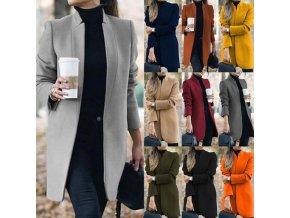 Oblečení - dámský elegantní podzimní jednobarevný kabát - kabát - dámské kabáty - nadměrné velikosti - vánoční dárek