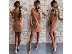 Oblečení - dámský luxusní šaty v béžové barvě s odhalenými zády - dámské šaty - společenské šaty - letní šaty
