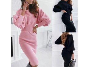 Oblečení - dámský módní šaty s nabíraným rukávem - dámské šaty - mikinkové šaty - dárek pro ženu
