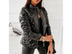 Oblečení - zimní bundy - dámská módní lesklá bunda s kapsami - dámská zimní bunda - jarní bundy - výprodej skladu