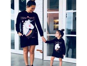 Oblečení - oblečení pro maminku a dceru šaty s jednorožcem - jednorožec -šaty - dámské šaty - dětské oblečení
