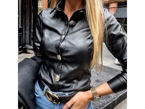 Oblečení - dámská černá koženková košile s velkými knoflíky -