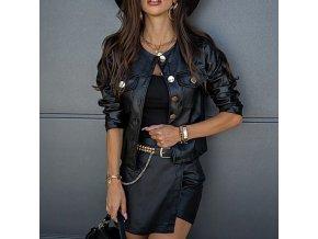 Oblečení - dámská koženková stylová bunda s velkými knoflíky -dámské jarní bundy - kožené bundy - dárek pro ženu