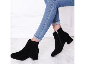 Boty - dámské semišové  kotníkové boty na podpatku - zimní boty - dámské kotníkové boty -