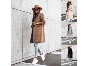 Oblečení - kabát - dámský elegantní podzimní kabát s kapsami na knoflíky -dámské kabáty - dámské zimní kabáty