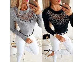Oblečení - dámské svetry - dámský svetr s krásným zdobením a kamínky  - vánoční dárek - výprodej skladu