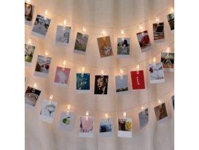 Dekorace - světelný řetěz - krásný ozdobný světelný řetěz s připínáčky na fotky - fotky - vánoční dárek