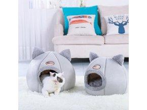 Kočka - krásný pelíšek pro kočky v šedé barvě s ušima - pelíšky - pelíšky pro kočky - chovatelské potřeby