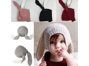 Dětské oblečení  - čepice- krásná dětská čepička s oušky - zimní čepice - vánoční dárek