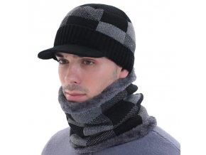 Oblečení - pánská zimní čepice s kšiltem v šachovém vzoru - čepice - zimní čepice - kšiltovky