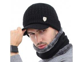 Oblečení - pánská set zimní šály + čepice s kšiltem - čepice - zimní čepice - kšiltovka - šála