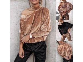 Oblečení - dámské módní semišové tričko s odhaleným ramenem - dámská trička - trička - dárek pro ženy