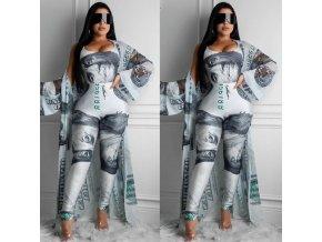 Oblečení - dámský set legíny + přehoz + body s potiskem dolaru - dámské legíny - body - dolar