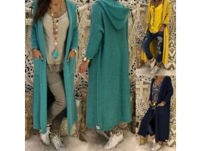 Oblečení - dámské svetry - dámský svetrový pletený kabát s kapucí - kabát - dámský kabát - vánoční dárek