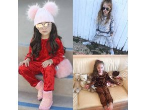 Dětské oblečení - tepláková semišová souprava pro holčičku mikina + tepláky - tepláková souprava - výprodej skladu