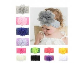 Dětské oblečení - krásná čelenka pro holčičku v různých barvách s velkou kytkou - čelenka do vlasů - výprodej skladu