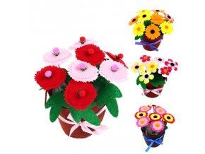 Hračky - tvoření s dětmi - ruční tvoření pro děti kytka v květináči - květiny - umělé květiny - ruční tvoření - dárky pro děti