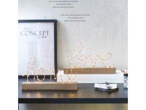 Dekorace - krásné dekorační nápisy love a home se světýlky - dekorace do bytu - výprodej skladu