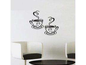 Dekorační nálepka na zeď- šálek kávy