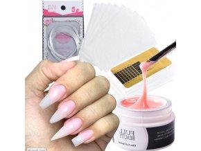 Nehty - gelové nehty - sada na prodloužení nehtů gel + prodloužení na šablonu + štětec - dárek pro ženu - modeláž nehtů