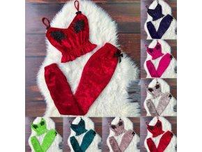 Oblečení - dámský semišový set top + tepláky ve více barvách - nadměrné velikosti - dámské tepláky - dárek pro ženu